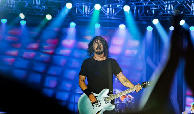 Dave Grohl on stage during a concert at BlizzCon 2011