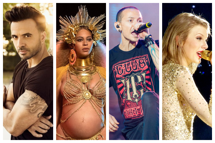 Collage of Luis Fonsi, Beyonce, Chester Bennington and Taylor Swift
