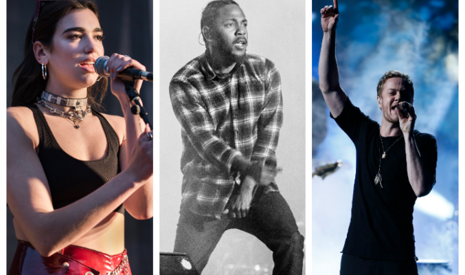 10 песни, с които ще запомним 2017 - MMTV Online Collage of Dua Lipa, Kendrick Lamar and Imagine Dragons' Dan Raynolds