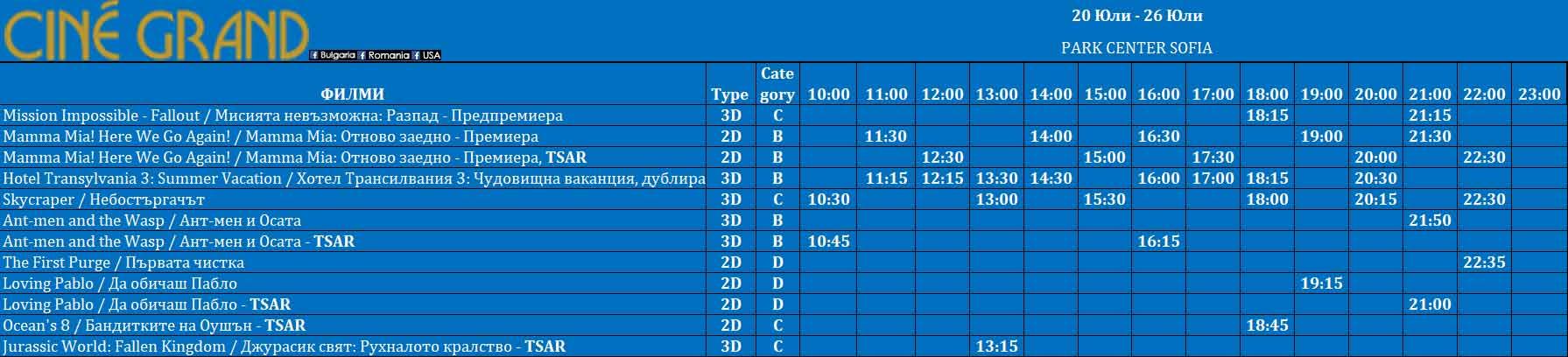 Програма за кината на Cine Grand - Park Center Sofia за периода 20 юли – 27 юли 2018г.