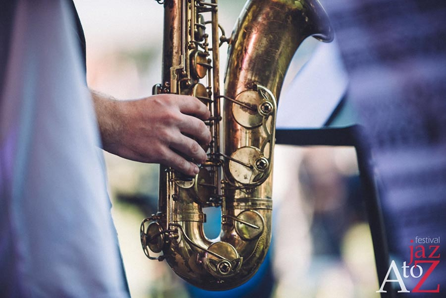 close-up of sax on a to jazz festival 2018
