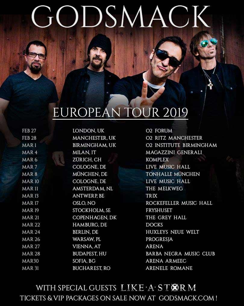 Godsmack обявиха новите дати за европвйското си турне
