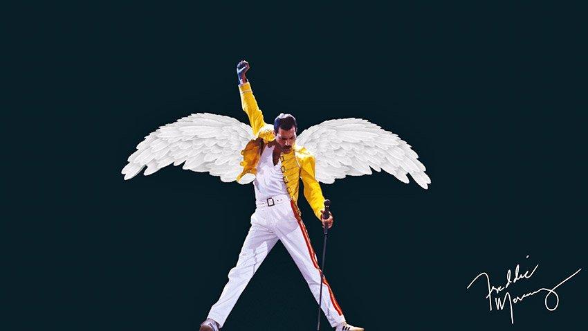Freddie Mercury on stage with wings