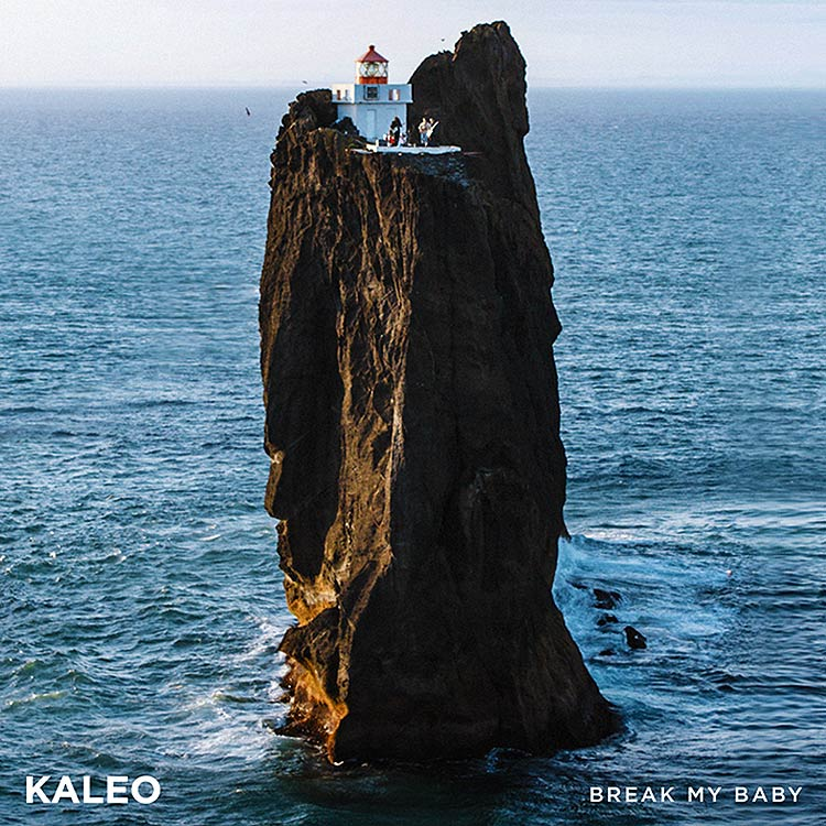 kaleo - band on top of light house Þridrangar